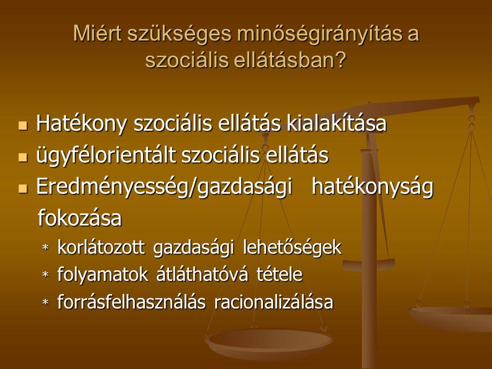 MINŐSÉGIRÁNYÍTÁS A SZOCIÁLIS MUNKÁBAN A szociális szolgáltatók alapvető célja a minőségi ellátás biztosítása A szociális szolgáltatók alapvető célja a