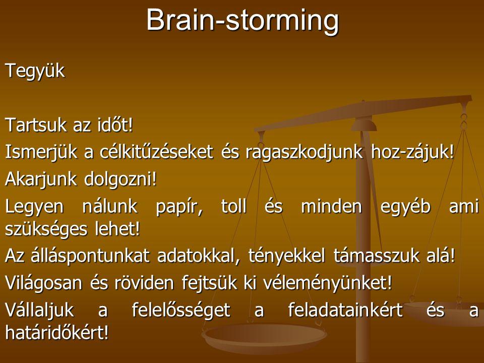 Problémák felsorolása, meghatározása (pl. brain-storming módszerrel) Problémák felsorolása, meghatározása (pl. brain-storming módszerrel) Pl. betegell