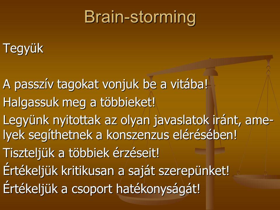 Brain-stormingTegyük Tartsuk az időt! Ismerjük a célkitűzéseket és ragaszkodjunk hoz-zájuk! Akarjunk dolgozni! Legyen nálunk papír, toll és minden egy
