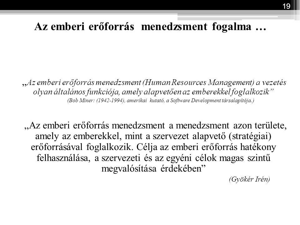"""Az emberi erőforrás menedzsment fogalma … """" Az emberi erőforrás menedzsment (Human Resources Management) a vezetés olyan általános funkciója, amely al"""