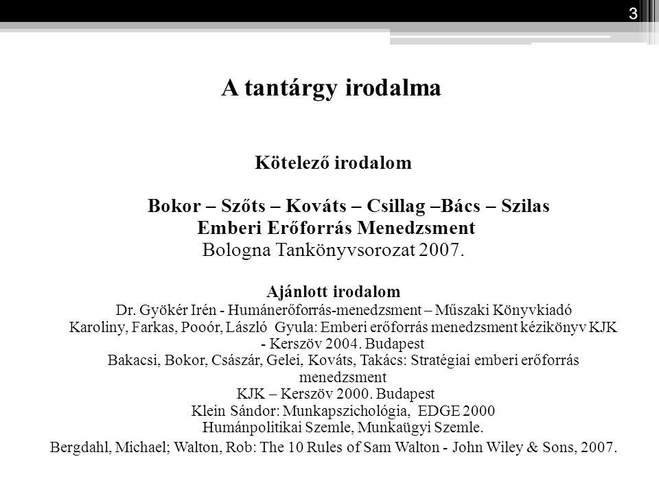 A tantárgy irodalma Kötelező irodalom Bokor – Szőts – Kováts – Csillag –Bács – Szilas Emberi Erőforrás Menedzsment Bologna Tankönyvsorozat 2007. Ajánl