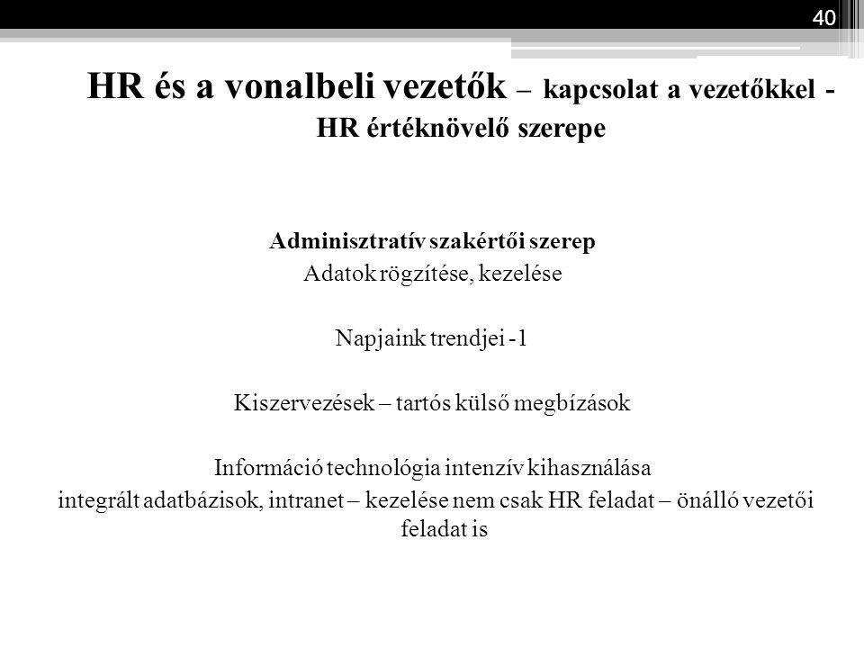 HR és a vonalbeli vezetők – kapcsolat a vezetőkkel - HR értéknövelő szerepe Adminisztratív szakértői szerep Adatok rögzítése, kezelése Napjaink trendj