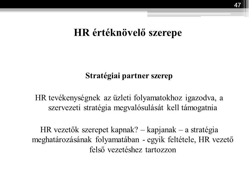 HR értéknövelő szerepe Stratégiai partner szerep HR tevékenységnek az üzleti folyamatokhoz igazodva, a szervezeti stratégia megvalósulását kell támoga