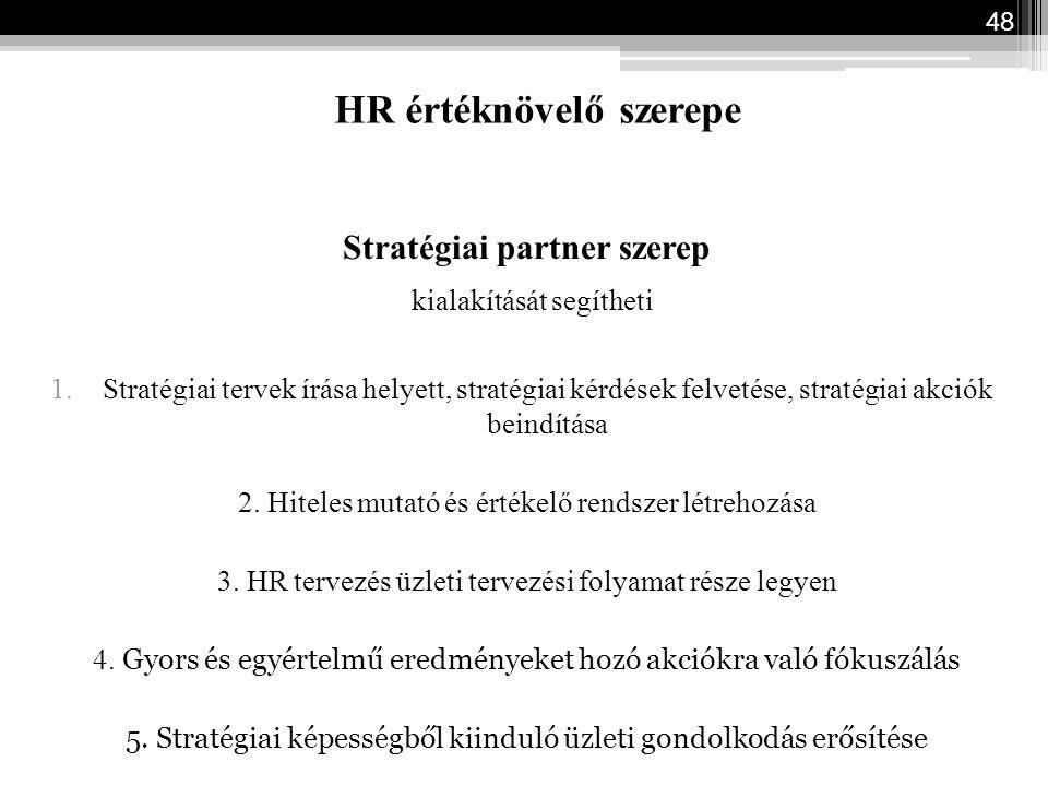 HR értéknövelő szerepe Stratégiai partner szerep kialakítását segítheti 1.Stratégiai tervek írása helyett, stratégiai kérdések felvetése, stratégiai a