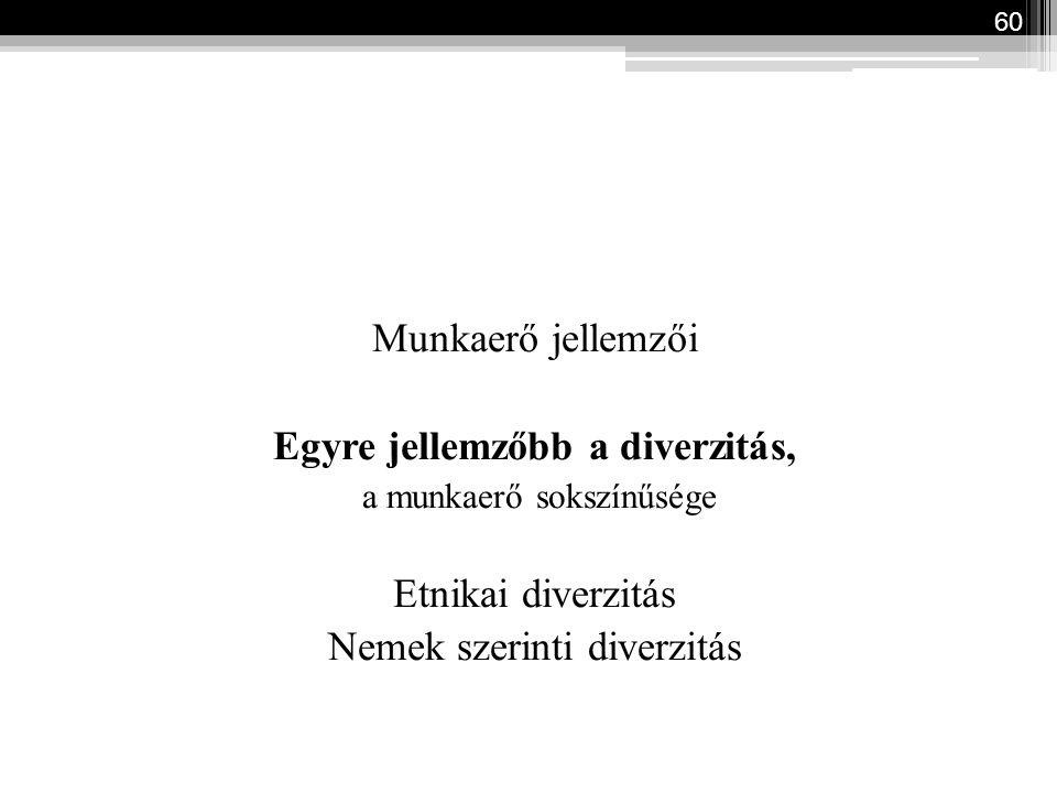 Munkaerő jellemzői Egyre jellemzőbb a diverzitás, a munkaerő sokszínűsége Etnikai diverzitás Nemek szerinti diverzitás 60