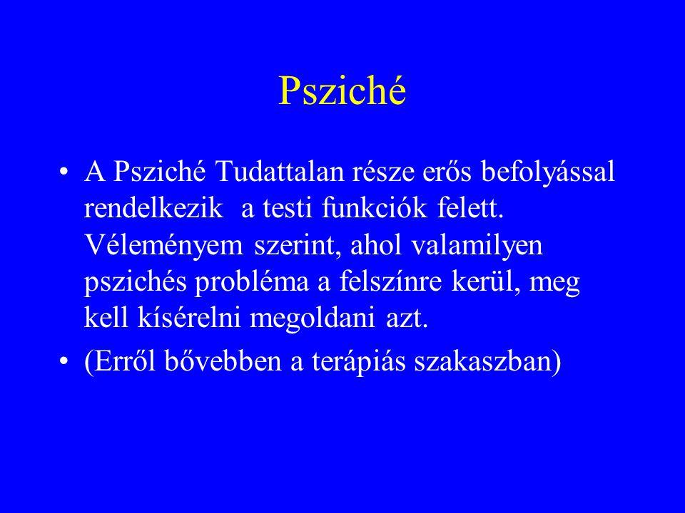 Psziché A Psziché Tudattalan része erős befolyással rendelkezik a testi funkciók felett. Véleményem szerint, ahol valamilyen pszichés probléma a felsz