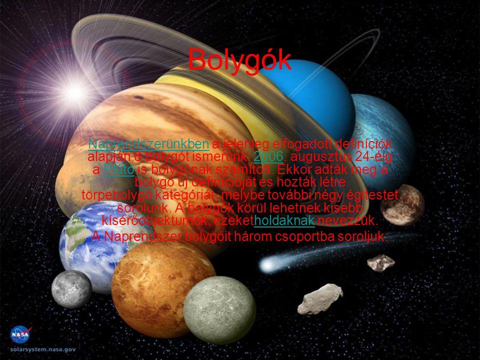 Bolygók NaprendszerünkbenNaprendszerünkben a jelenleg elfogadott definíciók alapján 8 bolygót ismerünk. 2006. augusztus 24-éig a Plútó is bolygónak sz