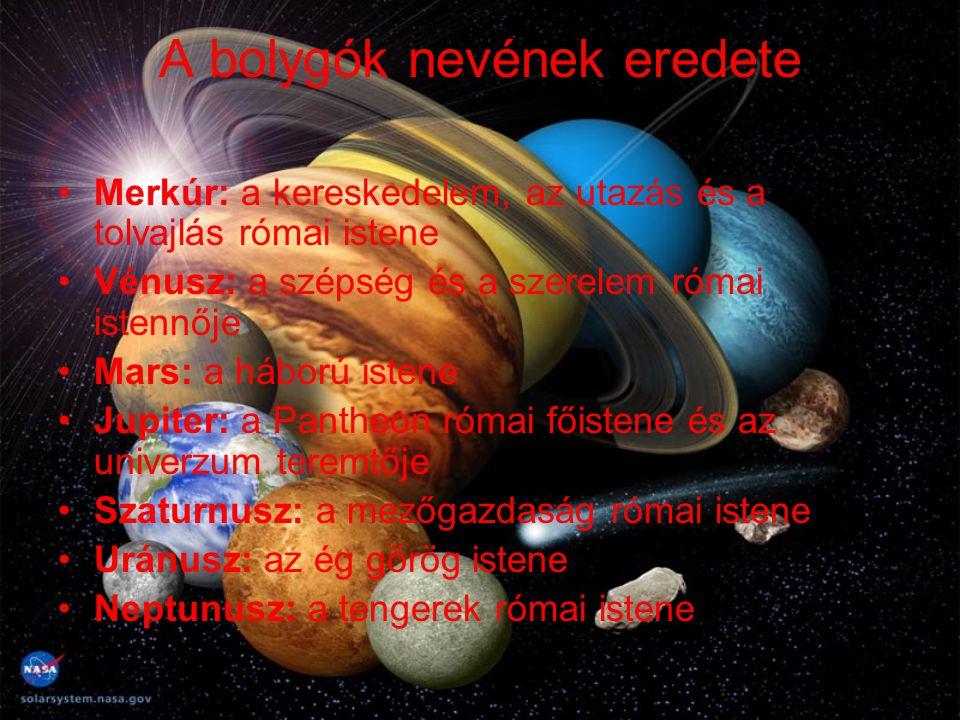 A bolygók nevének eredete Merkúr: a kereskedelem, az utazás és a tolvajlás római istene Vénusz: a szépség és a szerelem római istennője Mars: a háború
