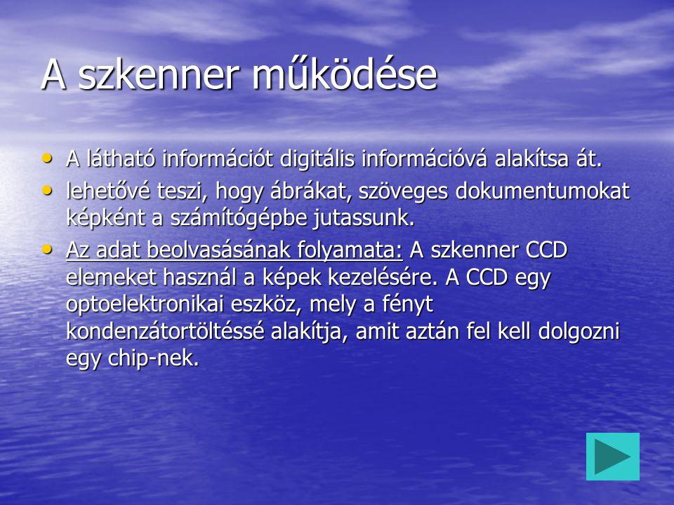 A szkenner működése A látható információt digitális információvá alakítsa át. A látható információt digitális információvá alakítsa át. lehetővé teszi