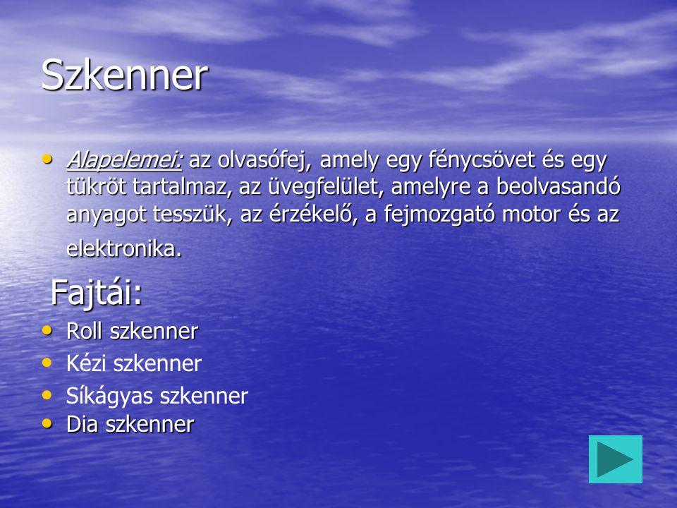 Szkenner Alapelemei: az olvasófej, amely egy fénycsövet és egy tükröt tartalmaz, az üvegfelület, amelyre a beolvasandó anyagot tesszük, az érzékelő, a