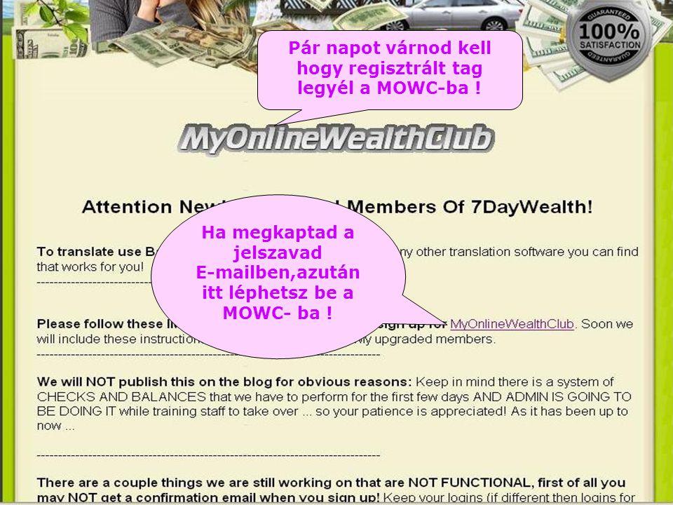 Pár napot várnod kell hogy regisztrált tag legyél a MOWC-ba .