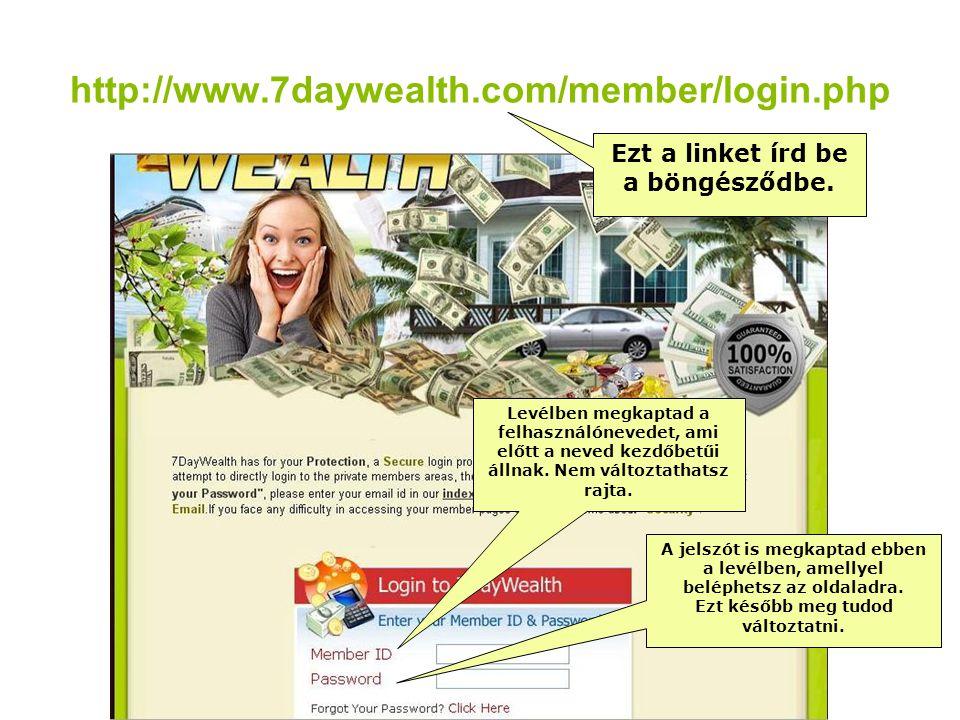 http://www.7daywealth.com/member/login.php Ezt a linket írd be a böngésződbe.