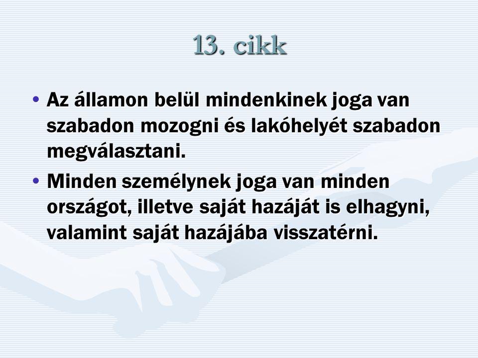 13. cikk Az államon belül mindenkinek joga van szabadon mozogni és lakóhelyét szabadon megválasztani.Az államon belül mindenkinek joga van szabadon mo