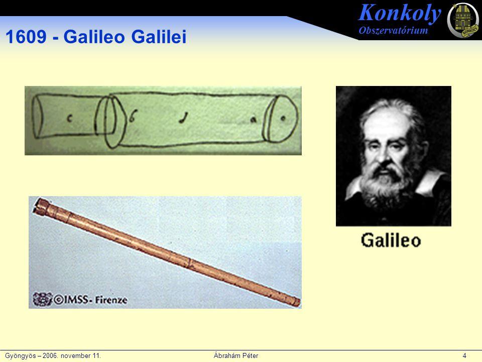 Gyöngyös – 2006. november 11. Ábrahám Péter 4 Konkoly Obszervatórium 1609 - Galileo Galilei