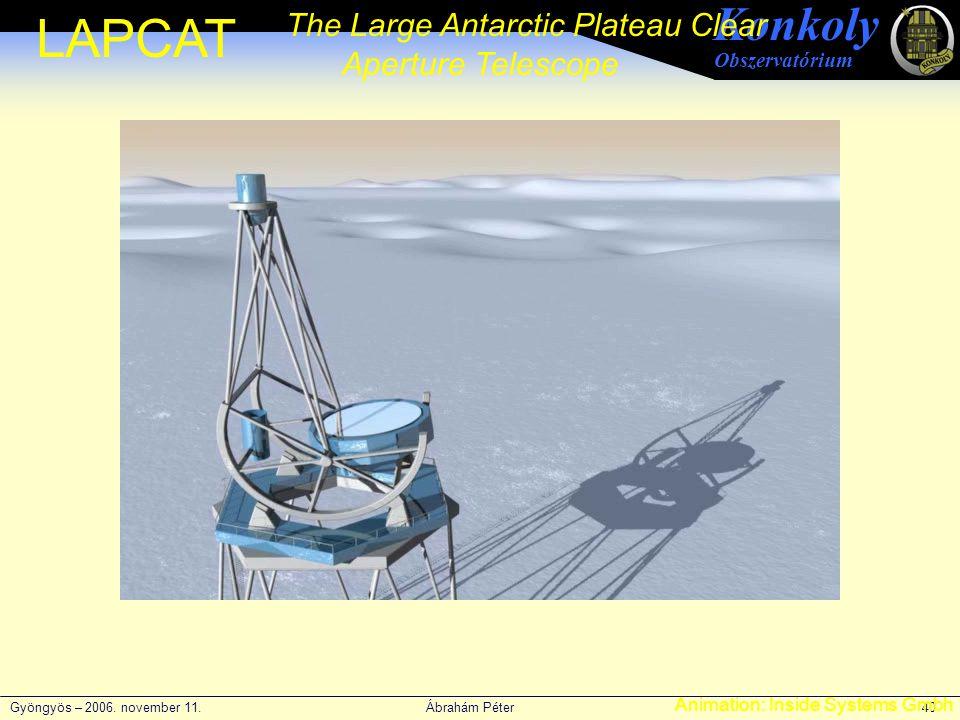 Gyöngyös – 2006. november 11. Ábrahám Péter 40 Konkoly Obszervatórium LAPCAT The Large Antarctic Plateau Clear Aperture Telescope Animation: Inside Sy