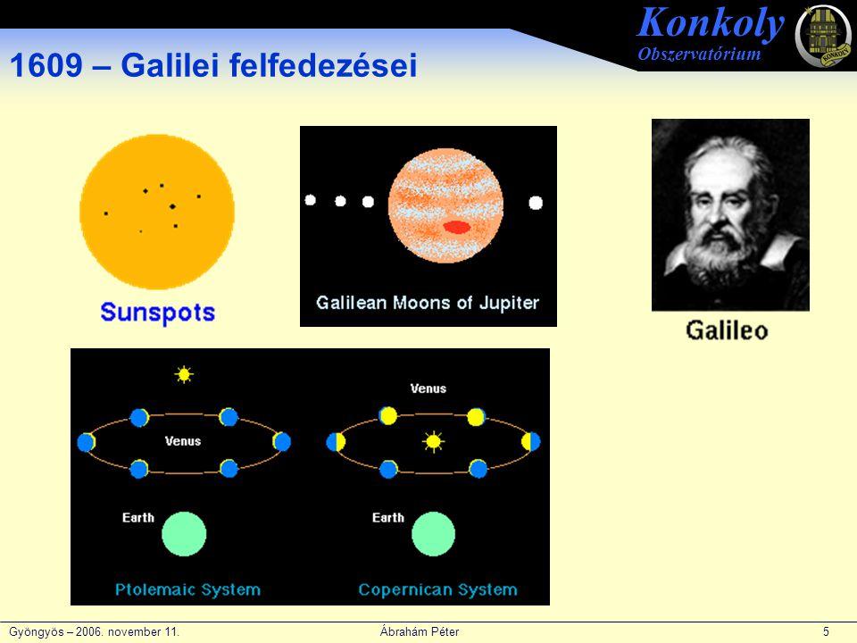 Gyöngyös – 2006. november 11. Ábrahám Péter 5 Konkoly Obszervatórium 1609 – Galilei felfedezései