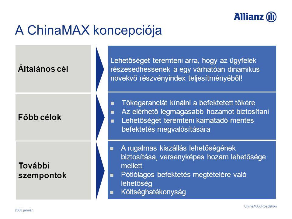 2008.január. ChinaMAX Roadshow A ChinaMAX koncepciója Általános cél Főbb célok Lehetőséget teremteni arra, hogy az ügyfelek részesedhessenek a egy vár