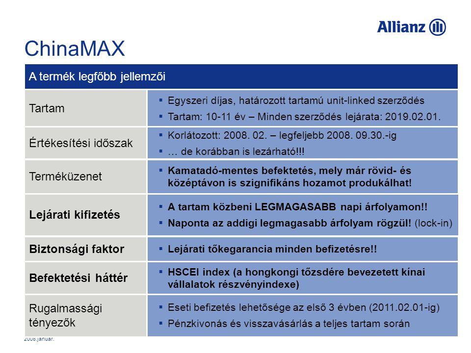 2008.január. ChinaMAX Roadshow ChinaMAX  Egyszeri díjas, határozott tartamú unit-linked szerződés  Tartam: 10-11 év – Minden szerződés lejárata: 201