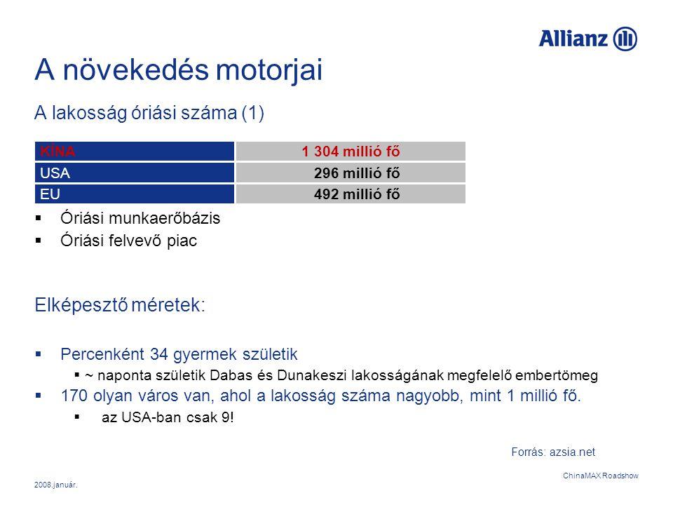 2008.január. ChinaMAX Roadshow A növekedés motorjai A lakosság óriási száma (1)  Óriási munkaerőbázis  Óriási felvevő piac Elképesztő méretek:  Per