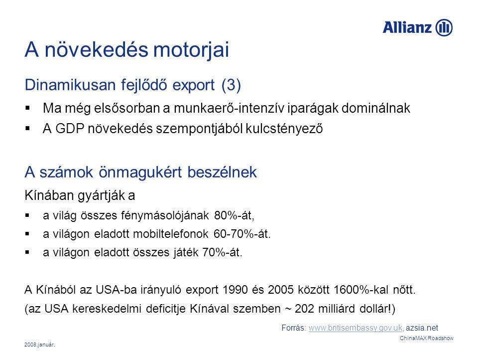 2008.január. ChinaMAX Roadshow A növekedés motorjai Dinamikusan fejlődő export (3)  Ma még elsősorban a munkaerő-intenzív iparágak dominálnak  A GDP