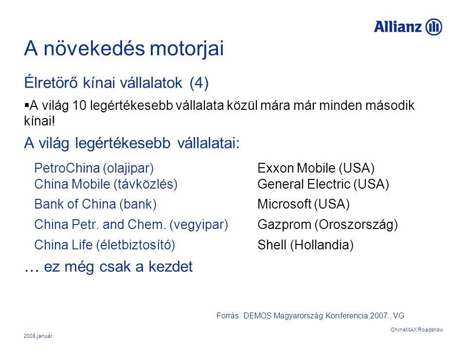 2008.január. ChinaMAX Roadshow A növekedés motorjai Élretörő kínai vállalatok (4)  A világ 10 legértékesebb vállalata közül mára már minden második k