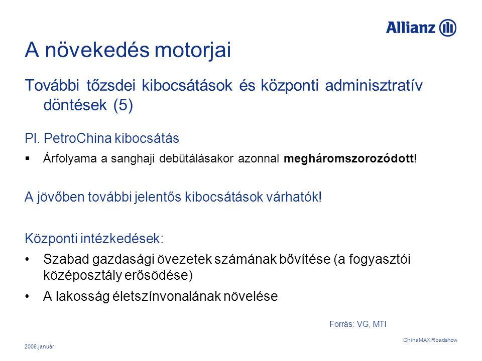 2008.január. ChinaMAX Roadshow A növekedés motorjai További tőzsdei kibocsátások és központi adminisztratív döntések (5) Pl. PetroChina kibocsátás  Á