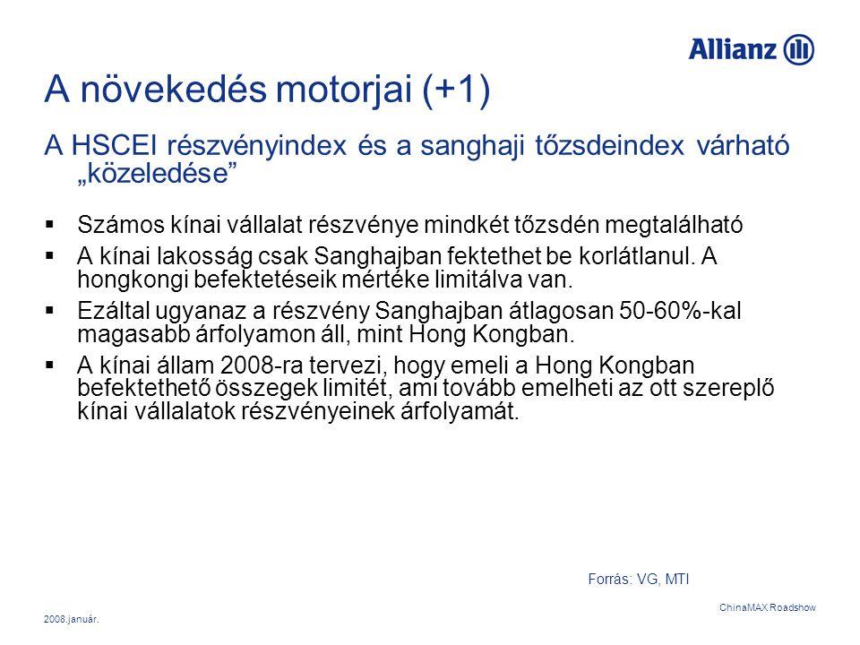 """2008.január. ChinaMAX Roadshow A növekedés motorjai (+1) A HSCEI részvényindex és a sanghaji tőzsdeindex várható """"közeledése""""  Számos kínai vállalat"""