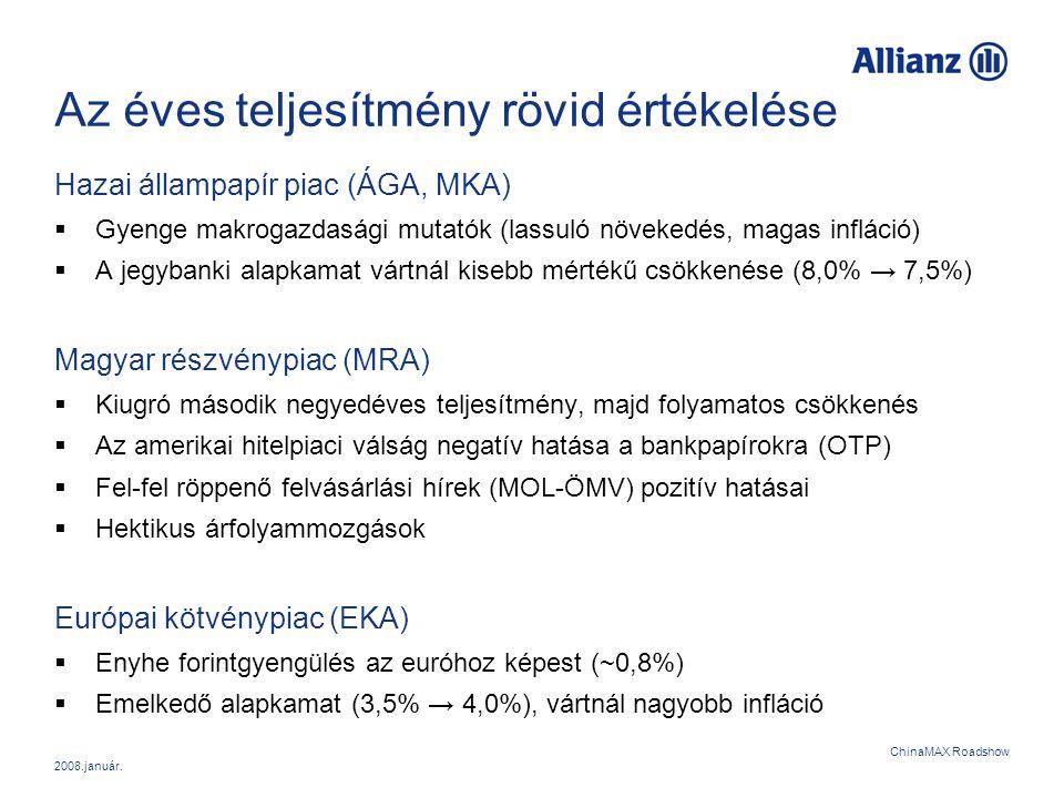 2008.január. ChinaMAX Roadshow Az éves teljesítmény rövid értékelése Hazai állampapír piac (ÁGA, MKA)  Gyenge makrogazdasági mutatók (lassuló növeked