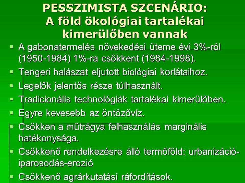 PESSZIMISTA SZCENÁRIO: A föld ökológiai tartalékai kimerülőben vannak  A gabonatermelés növekedési üteme évi 3%-ról (1950-1984) 1%-ra csökkent (1984-