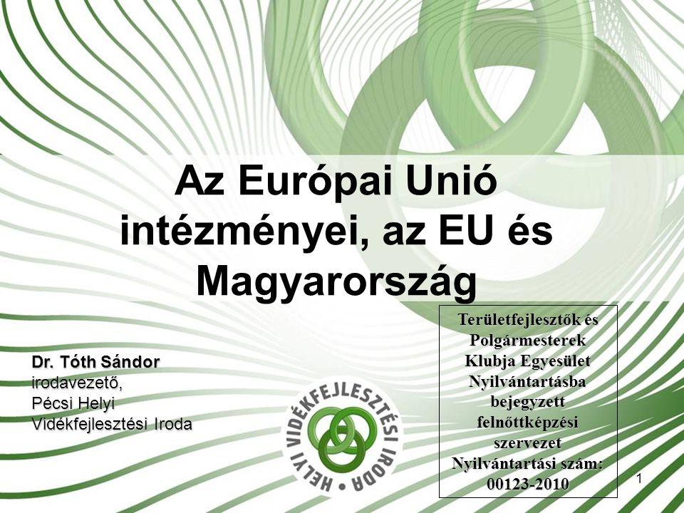 1 Az Európai Unió intézményei, az EU és Magyarország Dr.
