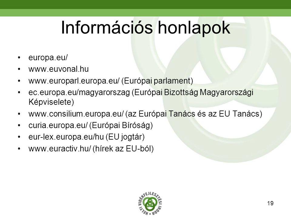 19 Információs honlapok europa.eu/ www.euvonal.hu www.europarl.europa.eu/ (Európai parlament) ec.europa.eu/magyarorszag (Európai Bizottság Magyarországi Képviselete) www.consilium.europa.eu/ (az Európai Tanács és az EU Tanács) curia.europa.eu/ (Európai Bíróság) eur-lex.europa.eu/hu (EU jogtár) www.euractiv.hu/ (hírek az EU-ból)