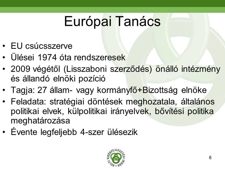 6 Európai Tanács EU csúcsszerve Ülései 1974 óta rendszeresek 2009 végétől (Lisszaboni szerződés) önálló intézmény és állandó elnöki pozíció Tagja: 27 állam- vagy kormányfő+Bizottság elnöke Feladata: stratégiai döntések meghozatala, általános politikai elvek, külpolitikai irányelvek, bővítési politika meghatározása Évente legfeljebb 4-szer ülésezik