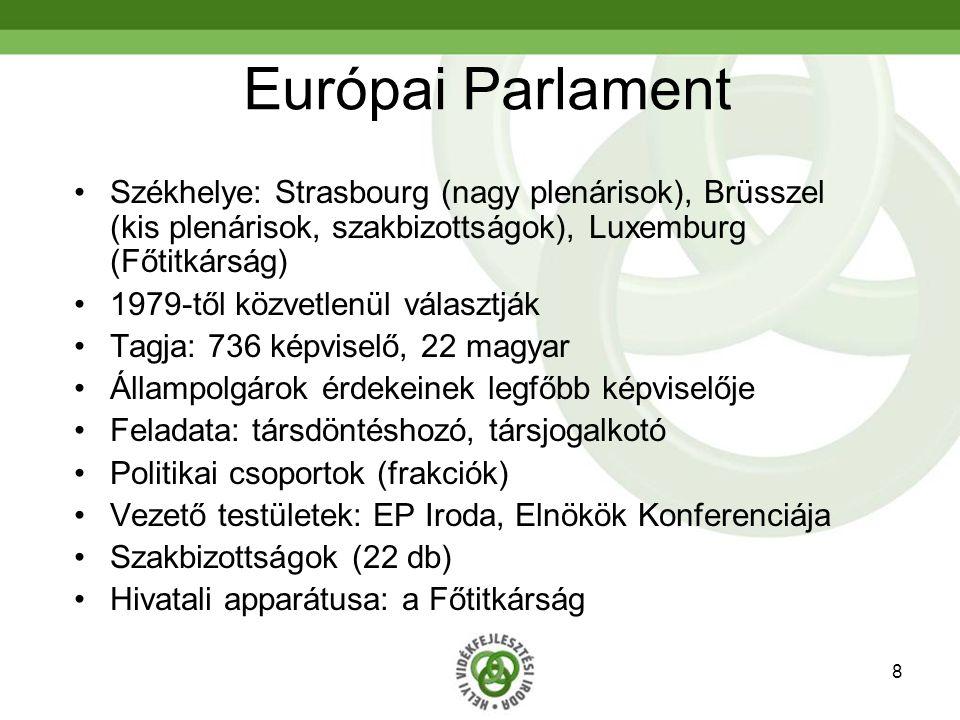 8 Európai Parlament Székhelye: Strasbourg (nagy plenárisok), Brüsszel (kis plenárisok, szakbizottságok), Luxemburg (Főtitkárság) 1979-től közvetlenül választják Tagja: 736 képviselő, 22 magyar Állampolgárok érdekeinek legfőbb képviselője Feladata: társdöntéshozó, társjogalkotó Politikai csoportok (frakciók) Vezető testületek: EP Iroda, Elnökök Konferenciája Szakbizottságok (22 db) Hivatali apparátusa: a Főtitkárság