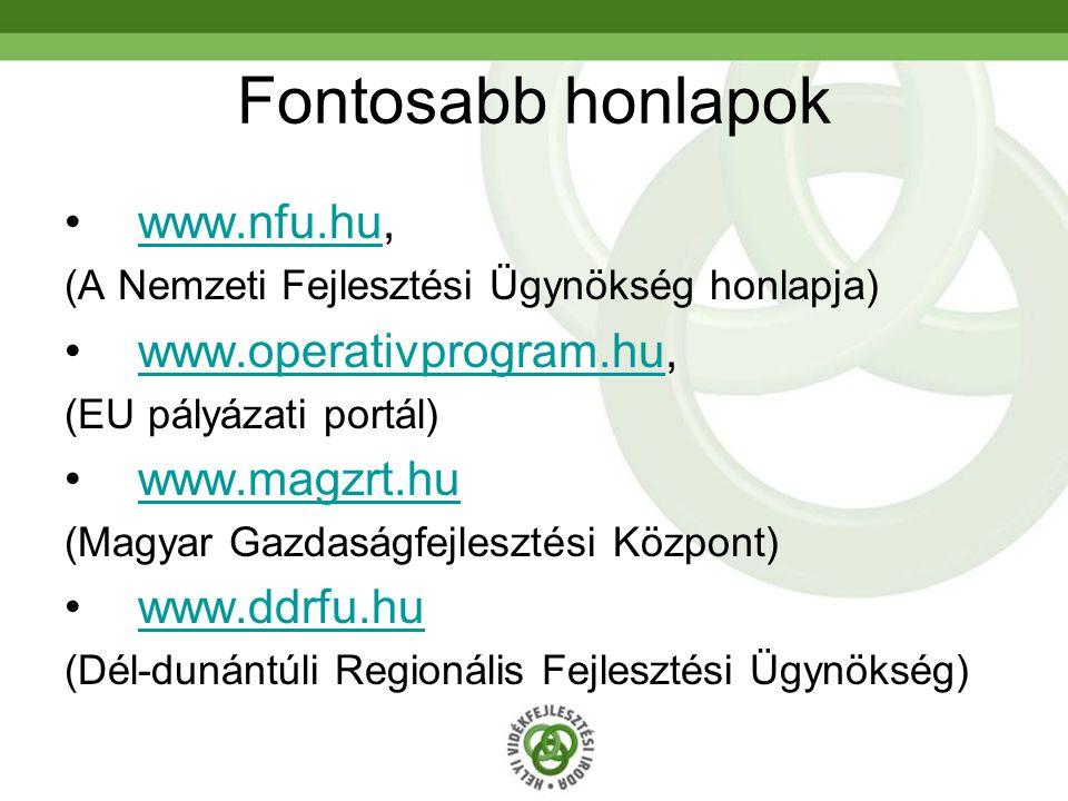 Fontosabb honlapok www.nfu.hu,www.nfu.hu (A Nemzeti Fejlesztési Ügynökség honlapja) www.operativprogram.hu,www.operativprogram.hu (EU pályázati portál) www.magzrt.hu (Magyar Gazdaságfejlesztési Központ) www.ddrfu.hu (Dél-dunántúli Regionális Fejlesztési Ügynökség)