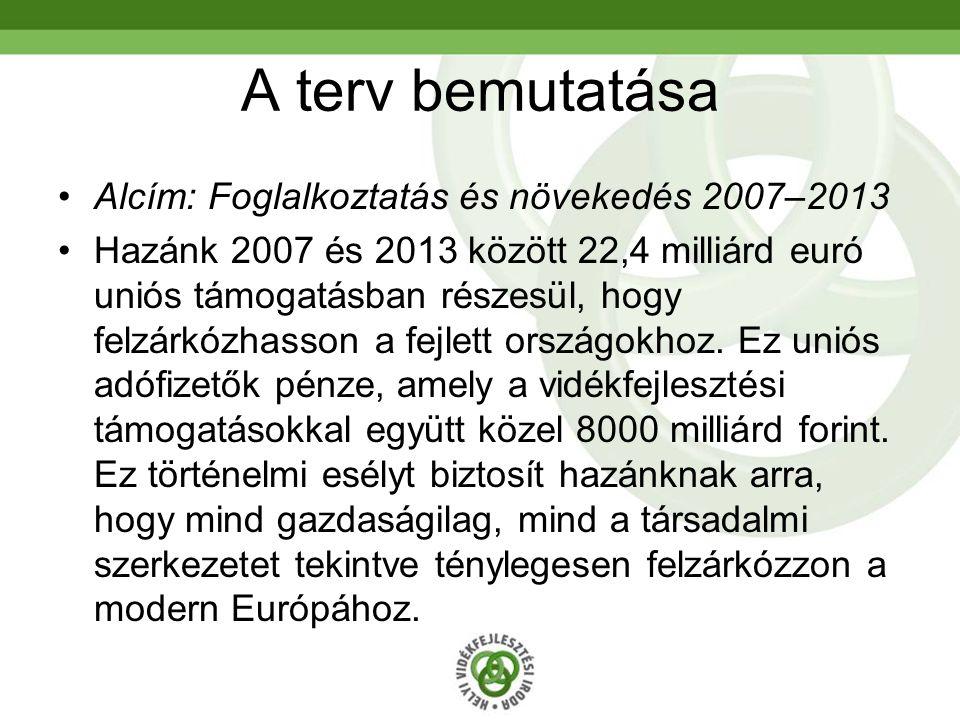 A terv bemutatása Alcím: Foglalkoztatás és növekedés 2007–2013 Hazánk 2007 és 2013 között 22,4 milliárd euró uniós támogatásban részesül, hogy felzárkózhasson a fejlett országokhoz.