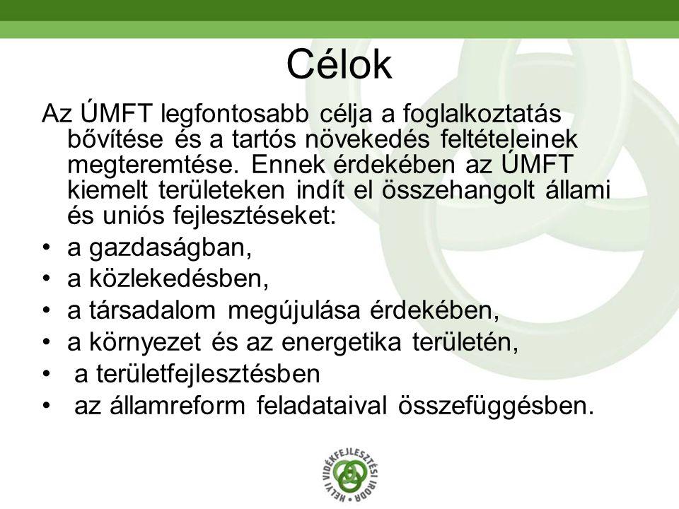 Célok Az ÚMFT legfontosabb célja a foglalkoztatás bővítése és a tartós növekedés feltételeinek megteremtése.