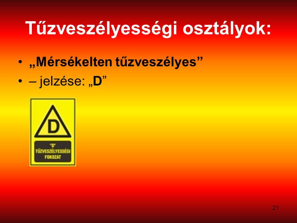 """21 Tűzveszélyességi osztályok: """"Mérsékelten tűzveszélyes"""" – jelzése: """"D"""""""