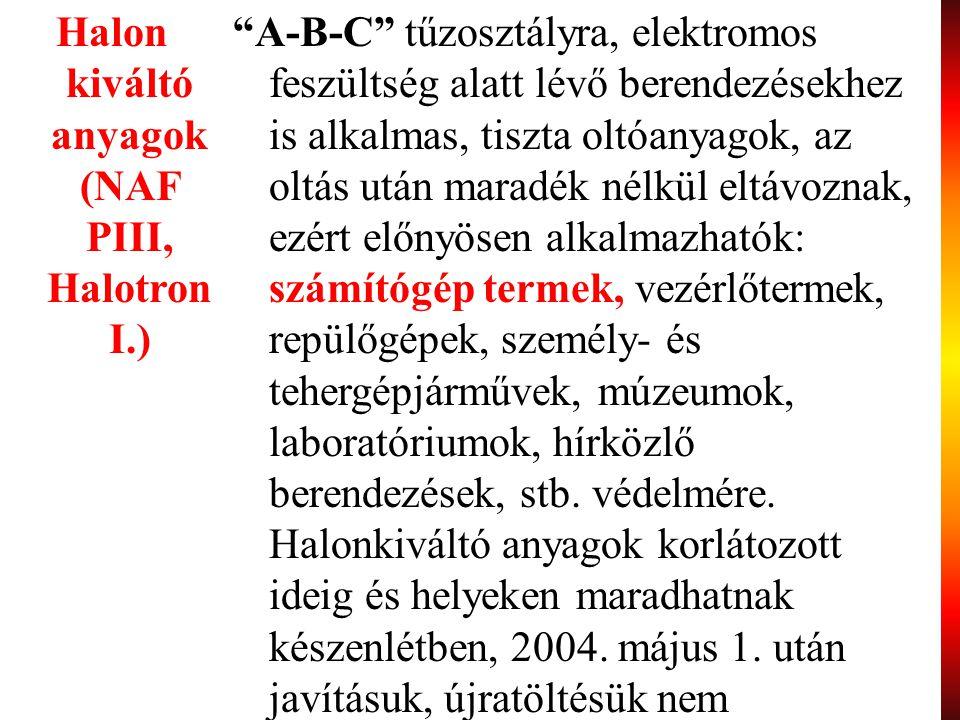 """64 Halon kiváltó anyagok (NAF PIII, Halotron I.) """"A-B-C"""" tűzosztályra, elektromos feszültség alatt lévő berendezésekhez is alkalmas, tiszta oltóanyago"""