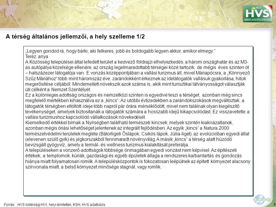 """49 Települések egy mondatos jellemzése 7/13 A települések legfontosabb problémájának és lehetőségének egy mondatos jellemzése támpontot ad a legfontosabb fejlesztések meghatározásához Forrás:HVS kistérségi HVI, helyi érintettek, HVT adatbázis TelepülésLegfontosabb probléma a településen ▪Nyírgyulaj ▪""""Igen magas számú szakképzetlen, munkanélküli réteg, mely egyáltalán nem akar a munkaerő piacra visszatérni."""