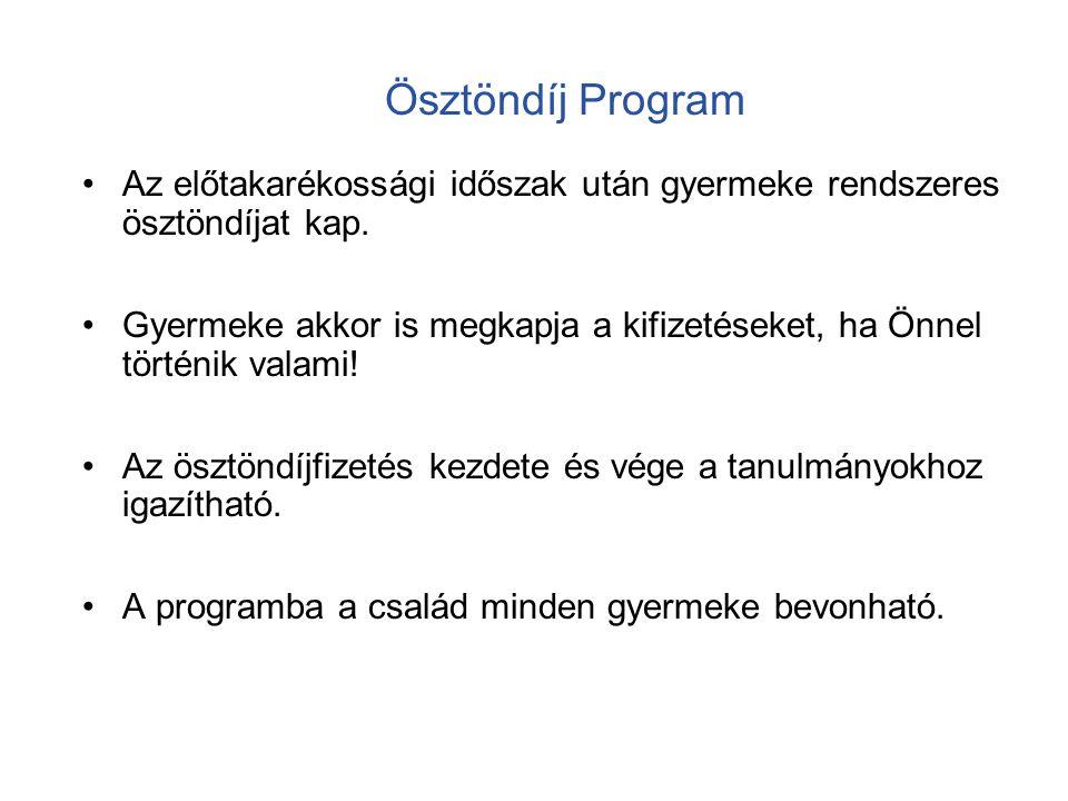 Az Ösztöndíj Program felépítése Ösztöndíj Program Kockázati életbizt.
