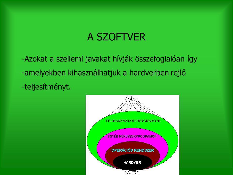 A SZOFTVER -Azokat a szellemi javakat hívják összefoglalóan így -amelyekben kihasználhatjuk a hardverben rejlő -teljesítményt.
