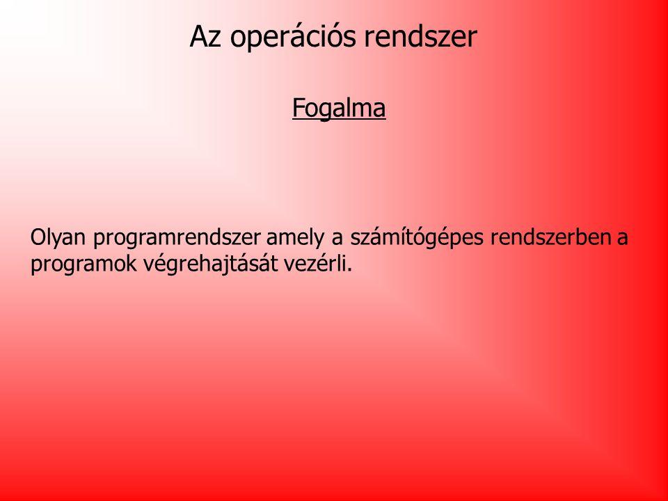 Az operációs rendszer Fogalma Olyan programrendszer amely a számítógépes rendszerben a programok végrehajtását vezérli.