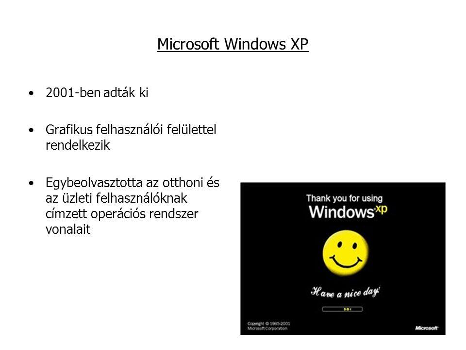 Microsoft Windows XP 2001-ben adták ki Grafikus felhasználói felülettel rendelkezik Egybeolvasztotta az otthoni és az üzleti felhasználóknak címzett operációs rendszer vonalait