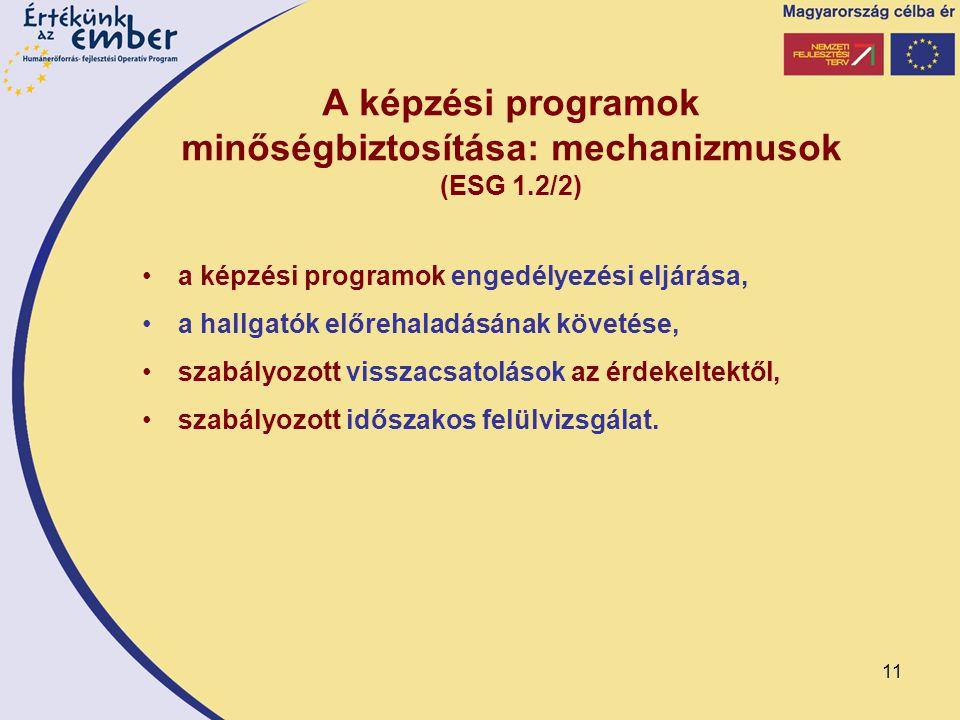 11 A képzési programok minőségbiztosítása: mechanizmusok (ESG 1.2/2) a képzési programok engedélyezési eljárása, a hallgatók előrehaladásának követése