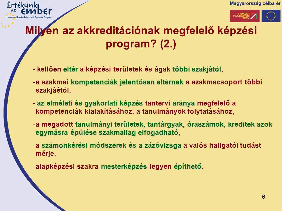 6 Milyen az akkreditációnak megfelelő képzési program? (2.) eltértöbbi szakjától - kellően eltér a képzési területek és ágak többi szakjától, kompeten