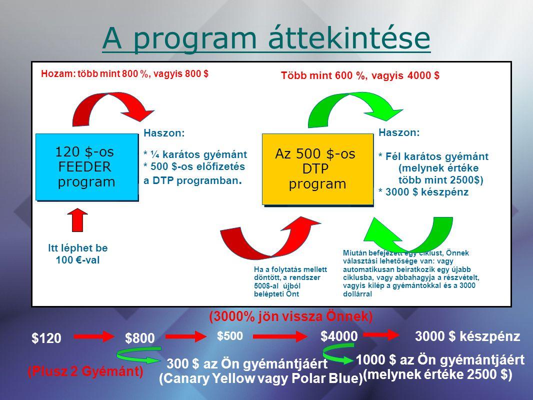 A program áttekintése Haszon: * ¼ karátos gyémánt * 500 $-os előfizetés a DTP programban. Hozam: több mint 800 %, vagyis 800 $ Haszon: * Fél karátos g