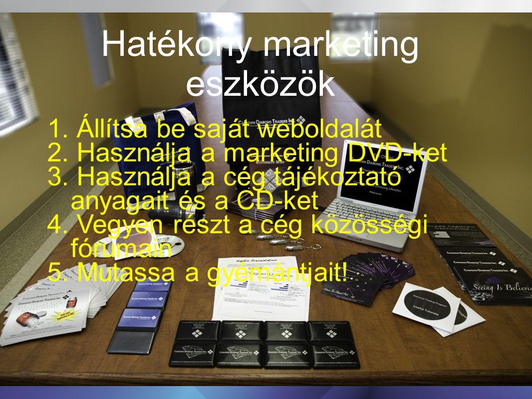 Hatékony marketing eszközök 1. Állítsa be saját weboldalát 2. Használja a marketing DVD-ket 3. Használja a cég tájékoztató anyagait és a CD-ket 4. Veg