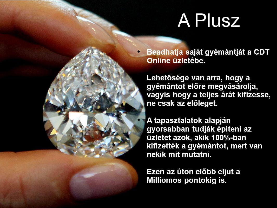 A Plusz Beadhatja saját gyémántját a CDT Online üzletébe. Lehetősége van arra, hogy a gyémántot előre megvásárolja, vagyis hogy a teljes árát kifizess