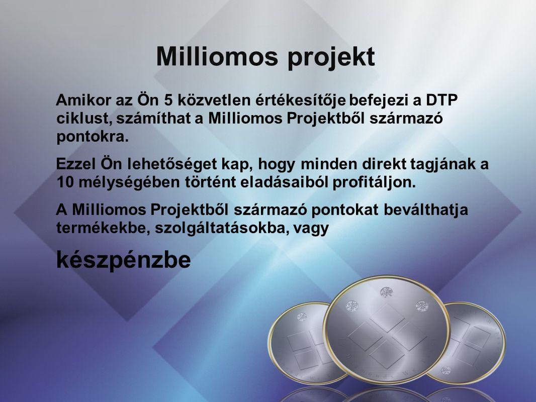 Milliomos projekt Amikor az Ön 5 közvetlen értékesítője befejezi a DTP ciklust, számíthat a Milliomos Projektből származó pontokra. Ezzel Ön lehetőség