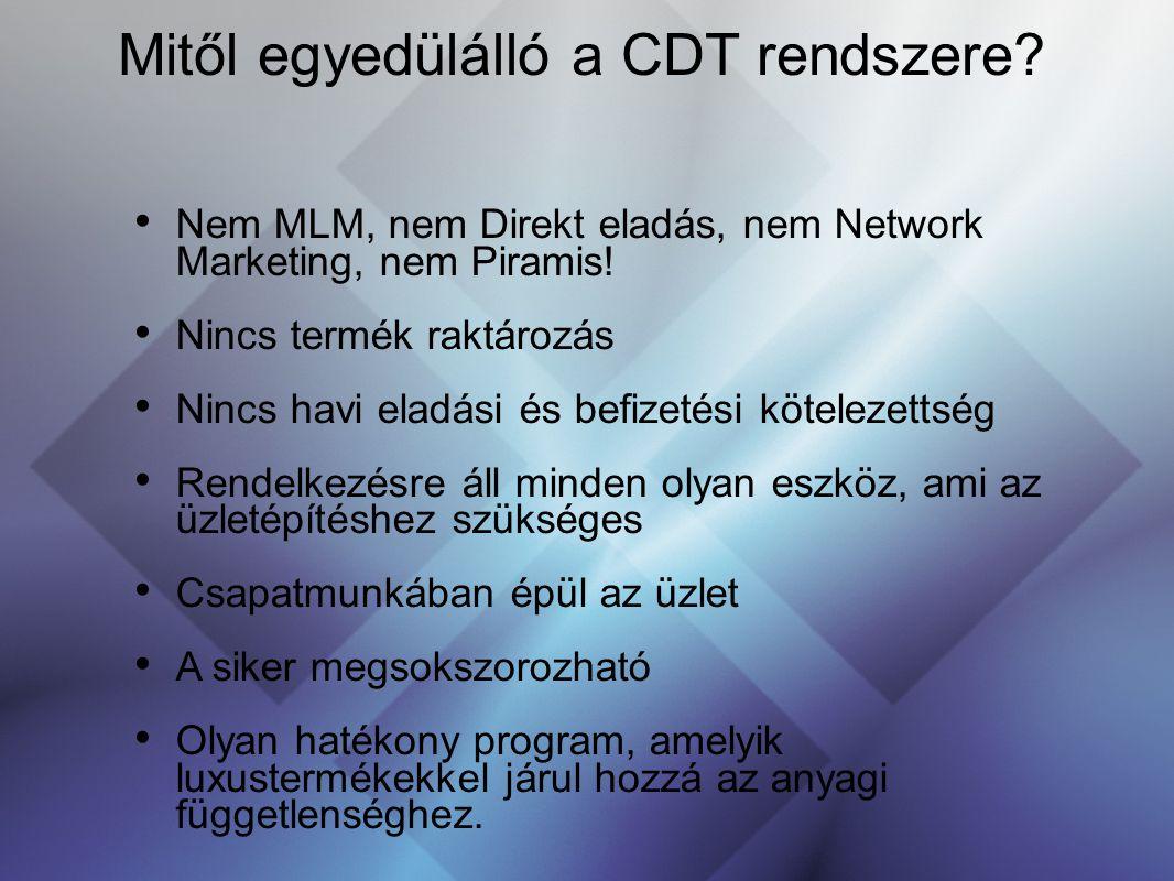 Mitől egyedülálló a CDT rendszere? Nem MLM, nem Direkt eladás, nem Network Marketing, nem Piramis! Nincs termék raktározás Nincs havi eladási és befiz
